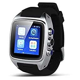 Padgene Android 4.4.2 Watch Phone, Bluetooth 4.0, NFC, WiFi, 2.0MP Camera, Support 2G / 3G GSM Network, Silver