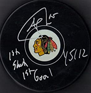 Andrew Shaw 1st Shot 1st Goal 1 5 12 Autographed Signed Chicago Blackhawks Hockey...