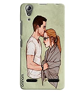 Omnam Beautiful Couple Expressing Emotion Printed Designer Back Cover Case For Lenovo A6000