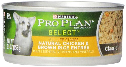 Purina Pro Plan Selects Classic Adult Dog Food, Natural Chicken And Brown Rice Entrã©E, 5.5-Ounce Cans (Pack Of 24)