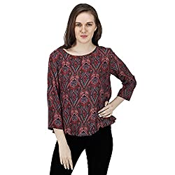 Women's Jaipuri Printed Top, 3/4 Sleeves, Trendy/Styish/Smart/Casual Top Wear for Women and Girls, Multi Colored