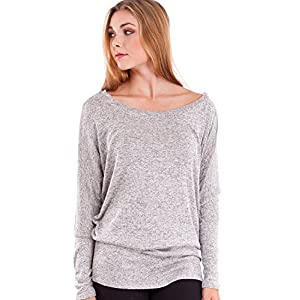 Heather Gray Marled Design Ladies Dolman Style Stretchy Hem Long Sleeve Top