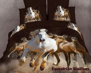 Dolce Mela DM424K Equestrian Stallions King Duvet Cover Set at Sears.com