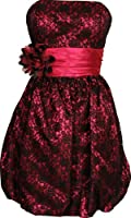 Strapless Lace Satin Bubble Prom Homecoming Party Dress
