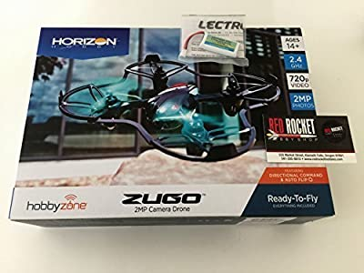 HobbyZone Zugo 2MP HD Camera Drone Quad Value Bundle With Extra Flight Battery And Screen Cleaner