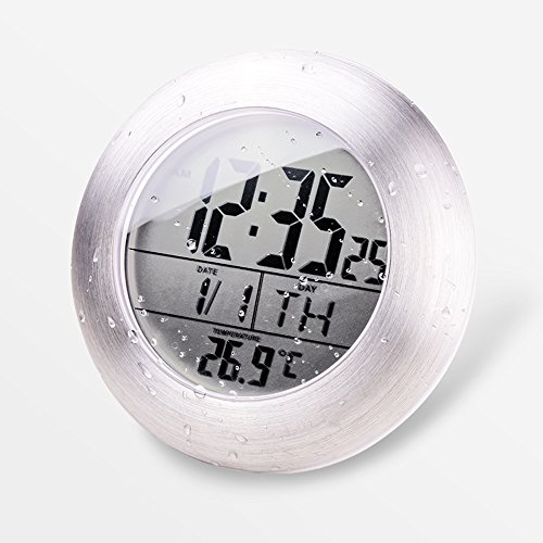 HITO™ LCD Bathroom Shower Clock displays Time, Date, Week and Temperature w/ suction cup, hanging hole AND table stand (Aluminum finish)