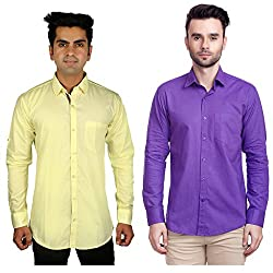Nimegh Purple, Yellow Color Cotton Casual Slim fit Shirt For men's (Pack of 2)