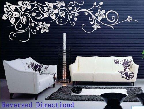 Sticker da parete, adesivo muro, wall sticker a forma di fiore bianco, molto bello, 200*60cm, removibile, di alta qualità, decorazione perfetta a casa, un'opera d'arte consigliatissimo