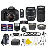 Canon EOS Rebel T5 18 MP CMOS Digital SLR Full HD Video Body with EF-S 18-55mm IS II Lens & EF 75-300mm III Lens With 58mm High Definition Wide Angle Lens + 58mm 2X Telephoto Lens + Macro Close-Up Set + Auto Slave Flash + Filter Kit with 24GB Deluxe Accessory Bundle