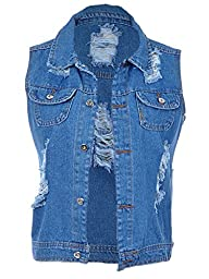 Anna-Kaci Womens Blue Denim Vintage Distressed Ripped Button Sleeveless Vest