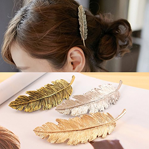 OPCC 6pcs Leaves Hair Accessories Headwear , Leaf Design Punk Women Girl Hair Clip Pin Claw Barrettes Accessories (Gold, silver & bronze)
