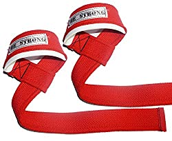 Be Strong Cotton Lifting Straps with padding for powerlifting, weightlifting and bodybuilding(rage red)