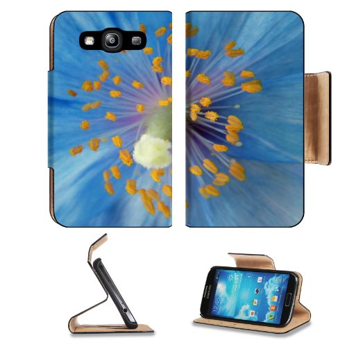 Poppy Pollen Blue Flower Petals Center Nectar Sweet Shot Samsung Galaxy S3 I9300 Flip Cover Case With Card Holder Customized Made To Order Support Ready Premium Deluxe Pu Leather 5 Inch (132Mm) X 2 11/16 Inch (68Mm) X 9/16 Inch (14Mm) Liil S Iii S 3 Profe