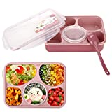 Lunch Bento Box Container, Iwotou Leakproof Microwave and Dishwasher Safe Lunch Box with 5+1 Separat
