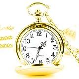 XLORDX Taschenuhr Herren Unisex Quarz Uhr mit Halskette Kette uhr Pocket Watch Geschenk Gold
