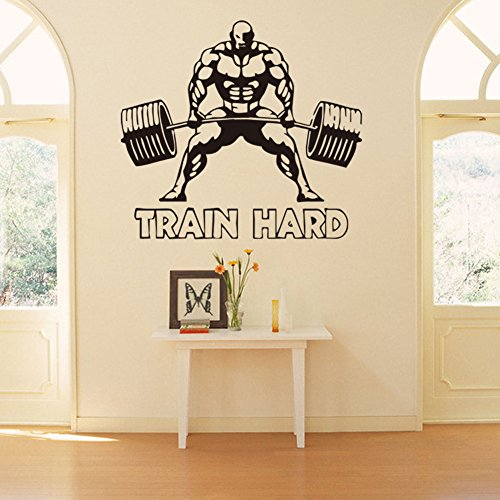 Fangeplus(TM) Weightlifting Man Fitness Train Hard DIY Removable Art Mural Vinyl Waterproof Wall Stickers Kids Room Decor Powerhouse Gym Decal Sticker Wallpaper 27.5''x22.4''