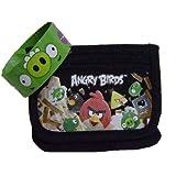 Angry Birds Black Tri-fold Wallet And Slap Bracelet For Kids
