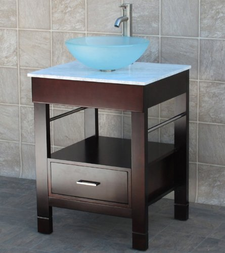"Cg 24"" Bathroom Vanity, White Tech Stone (Quartz) with Glass Vessel Sink Cg/12f"