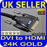 2m DVI to HDMI Cable for SAMSUNG PANASONIC LG SONY BLURAY PS3 PC DVD Blu-ray Players Set Top and SKY Boxes LCD TV TFT Monitors FULLHD 3D Video DVI-D (HDMI to DVI , Dual Link, DVI to HDMI) 24+1 Pins v1.4a 15.8gbps 1080p Full HD by BeckenBower