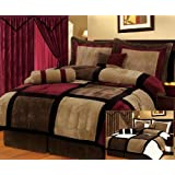 Legacy Decor 7-pieces Burgandy Brown Black & Beige Micro Suede Patchwork Comforter Bedding Set Washable Full Size