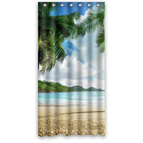 Custom Unique Design Palm Tree Beach Sea Cloud Waterproof Fabric Shower Curtain, 72 By 36-Inch front-459931