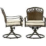 Catalina Outdoor Arm Dining Chairs Set Of 2, SWIVEL ROCKER C, BRONZE FLAX SUNBRELLA