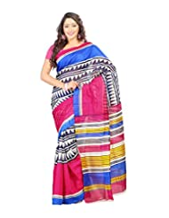 Prafful Multi Colour Bhagalpuri Silk Fashionable Printed Saree With Unstitched Blouse Piece