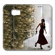 buy S6 Leather Case Pu Material Hard Shell Flip Credit Card Holder Magnetic Stand Video Game Logo Poster Pattern Character Screen Adventure Fighting Galaxy S6-Tomb Raider Lara Croft 10
