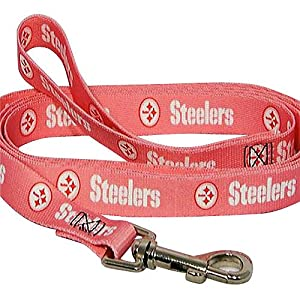 "Pittsburgh Steelers 6' x 3/4"" Pink Dog Leash at Steeler Mania"