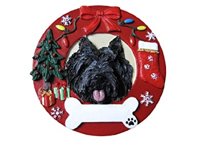Cairn Terrier Christmas Ornament Wreath Shaped Easily Personalized Holiday Decoration Unique Cairn Terrier Lover Gifts