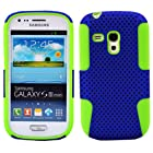 MINITURTLE, Premium 2 in 1 Double Layer Perforated Hard Hybrid Phone Case Cover and Clear Screen Protector Film for Android Smartphone Samsung Galaxy S3 III Mini (Blue / Green)