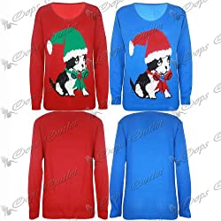 Womens Mens Unisex Xmas Christmas Santa Hat Dog Puppy Print Sweater Jumper Top by Oops Outlet