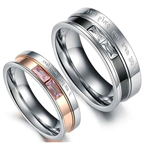 (キチシュウ)Aooazジュエリー カップルステンレスリング指輪 レディース ピンクCZダイヤモンド入り 結婚指輪 ピンクゴールド 高品質のアクセサリー 日本サイズ9号(USサイズ5号)