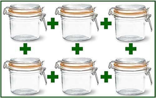 Set of 6 - Le Parfait French Wide Mouth Glass Canning Jars - 12 Oz Each (12 Ounce Tall Canning Jars compare prices)
