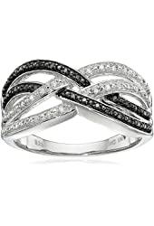 Sterling Silver Diamond Crisscross Ring (1/7 cttw, J-K Color, I2-I3 Clarity)