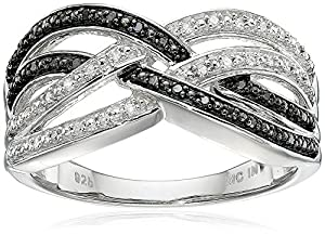 Sterling Silver Black and White Diamond Cross-over Ring (1/7 cttw, I-J Color, I2-I3 Clarity), Size 8