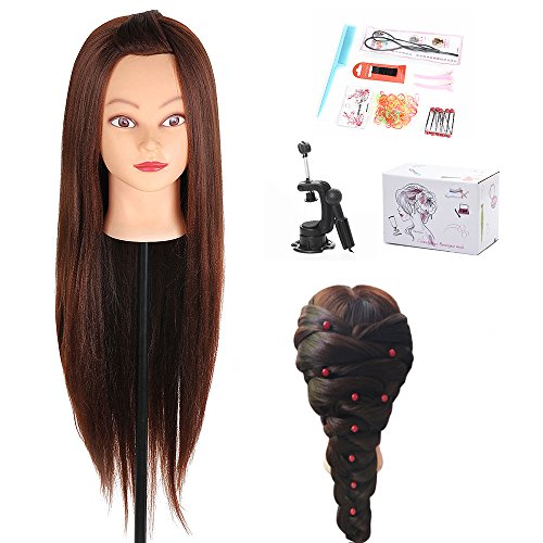 29 Inch Yaki Mannequin Head Hair Synthetic Cosmetology Mannequin Manikin Training Head Model with Clamp