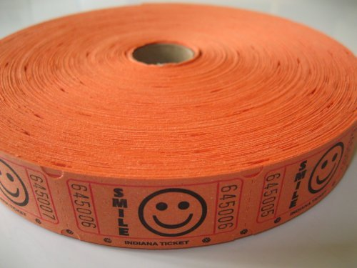 2000 Orange Smile Single Roll Consecutively Numbered Raffle Tickets (Event Tickets Numbered compare prices)