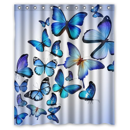 Generic Personalized Beautiful And Authentical Blue Butterflies Art Print Design Sold By Too Amazing Shower Curtain Bath Decor Curtain 60