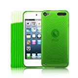5G Touch Green Silicone Protective Armour Case + Sock Cover & Screen Protector Kit for New Apple iPod Touch 5th Generation - 32GB 64GB