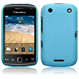 BLACKBERRY CURVE 9380 BAby Blue TEXTURED PU LEATHER BACK COVER CASE / SHELL / SHIELD PART OF THE QUBITS ACCESSORIES RANGEby Qubits