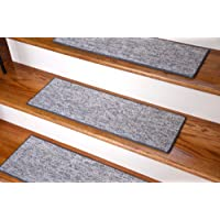 Dean Indoor/Outdoor Skid-Resistant DIY Carpet Stair Treads - Port Canaveral Gray 27