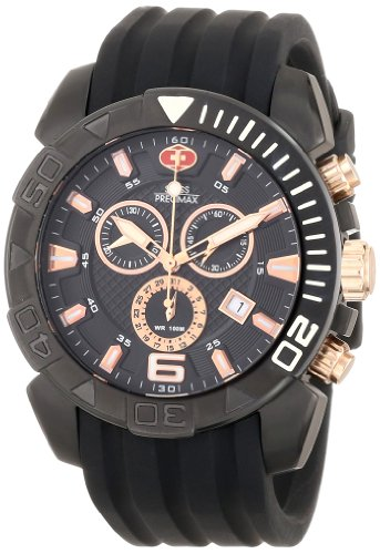 Swiss Precimax Men's Recon Pro Sport SP13115 Black Polyurethane Swiss Chronograph Watch with Black Dial