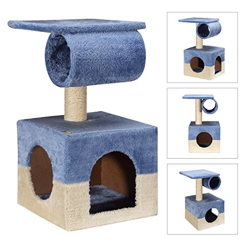"Ollieroo® Designed for Kittens 2 Doors Small Cat Tree Condo Furniture Sisal Scratching Post Cat Cube for Kittens Cats like to ""hide"", Blue Beige"