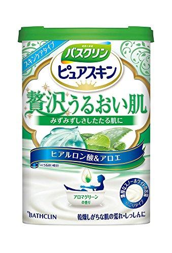 バスクリン ピュアスキン 贅沢うるおい肌 アロマグリーンの香り 600g 入浴剤 (医薬部外品)
