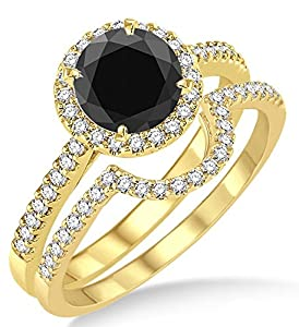 2 Carat Black Diamond Halo Bridal Set Engagement Ring on 10k Yellow Gold