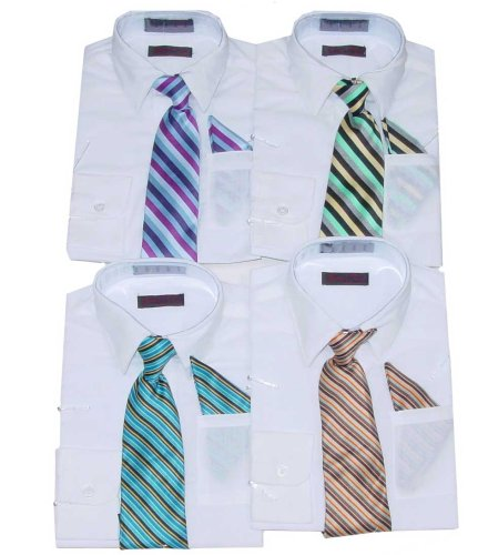 Buy Boys' White Dress Shirt with Striped Tie and Handkerchief