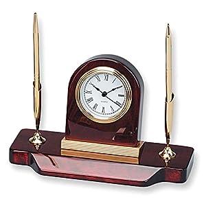 Holz Schreibtisch Uhr zwei Stift Stand - Engravable personalisierte Geschenk Element