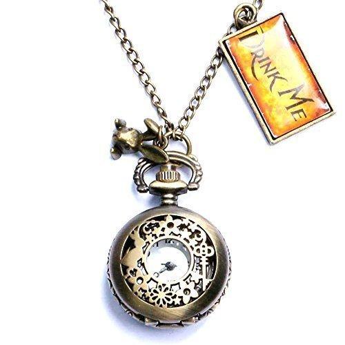 Alice nel paese delle meraviglie, Drink Me-Collana con ciondolo a forma di orologio da tasca, con confezione regalo
