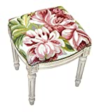 Stool - Magnolia Blossoms Needlepoint Stool - Vanity Seat - Pink and Green